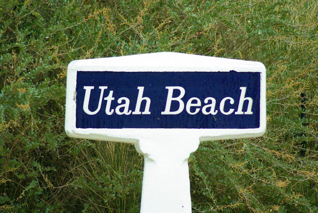 le panneau de la plage Utah BEach du débarquement en Normandie