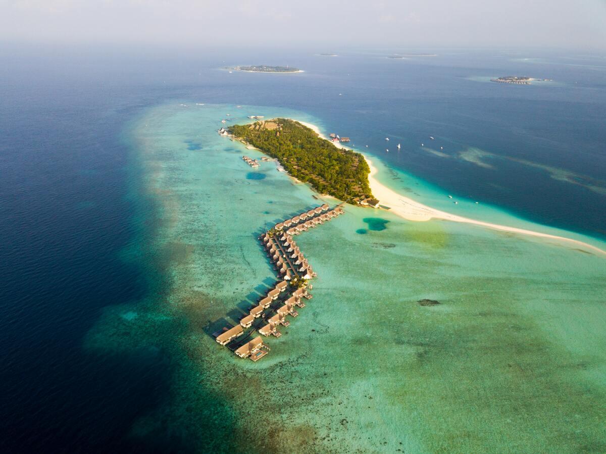 vue aérienne des maldives en hydravion